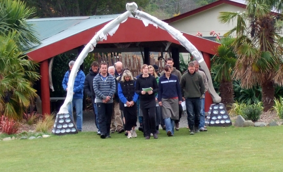 Participants are welcomed onto the marae as we held our own powhiri and hui as a group.