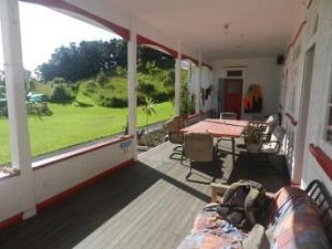The hostel veranda in the sun.