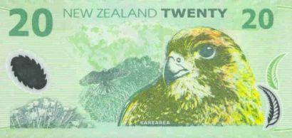 A New Zealand $20 bank note featuring a Kārearea/NZ falcon.