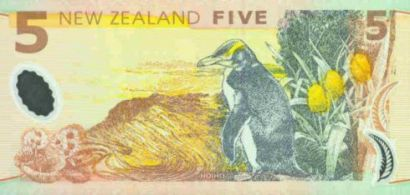 A New Zealand $5 bank note featuring a Hoiho/Yellow-eyed penguin.