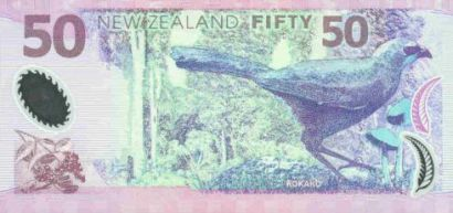 A New Zealand $50 bank note featuring a Kōkako.