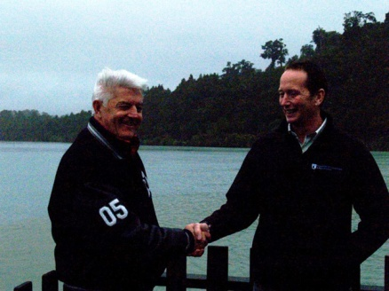 Norm Thompson and Wayne Costello braving the weather to open the trail.
