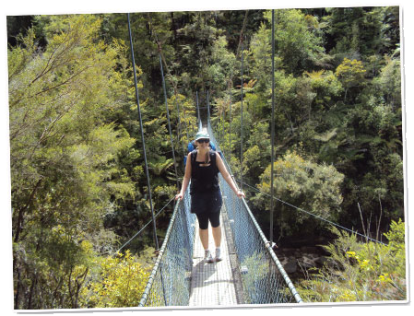Siobhan on the famous swing bridge along the Abel Tasman Coastal track.