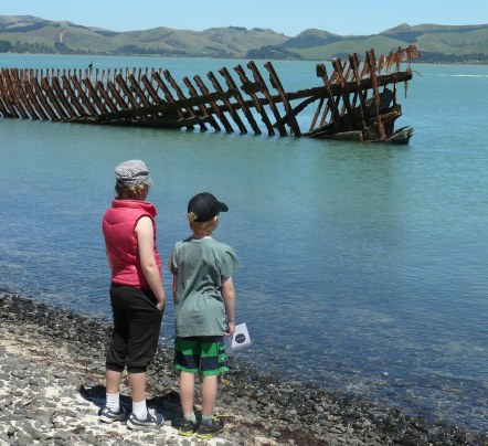 Maddie Harrison and William Webb at the ships graveyard; photo S Mankelow DOC.