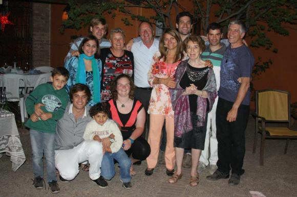 "Robyn and her family with the family of her ""host son"" in Argentina."