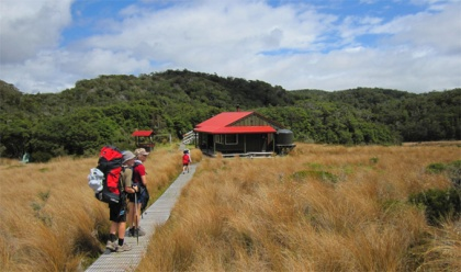 Family adventures. Arriving at Saxon Hut on the Heaphy Track