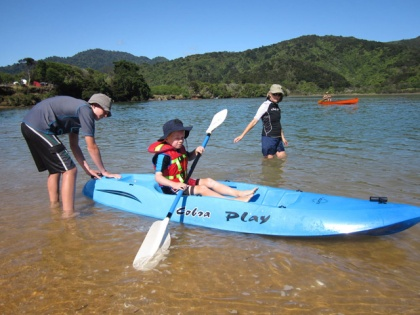 Family fun in the lagoon while on holiday at Totaranui