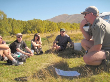 Talking to Otago University Wildlife Management Diploma Students about threatened fish and the trout barrier we are using to protect them