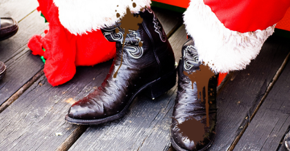 Mr Claus was wearing gumboots covered in dirt and reindeer faeces.