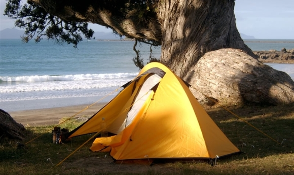 Tent on a beach in New Zealand.