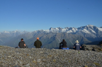 View from camp towards Mt Victoria and the Garden of Eden - (l-r) Chippy Wood, Mike Perry, Anneke Hermans, Pete Doonan.