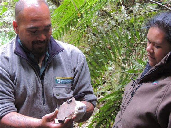 Ranger Joe Waikari and Bobby checking out a Hochstetter frog.