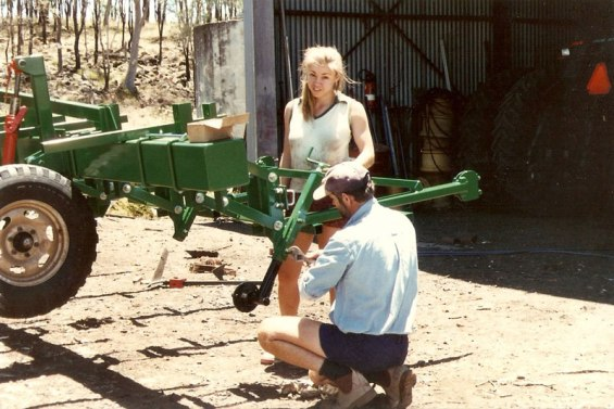Gen Spargo building stuff on the farm with her Dad.