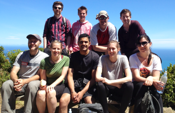 The interns on Kapiti Island with Ash, Pete and Shannan. Photo by Shannan Mortimer.