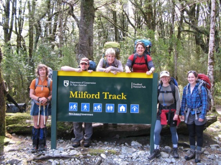 Bronwyn Aalders and the team ready to walk the Milford Track.