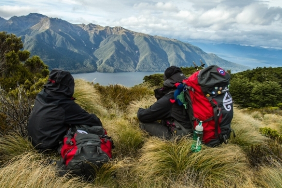 The Great Walkers having a rest and taking in the view on the Kepler Track.