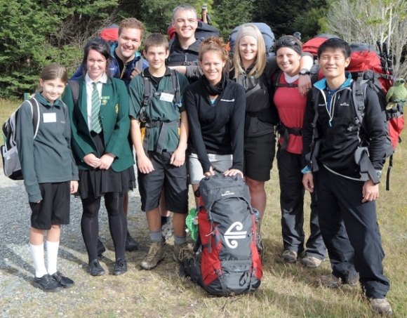 Ranger Cate Helm with the Great Walkers and students.