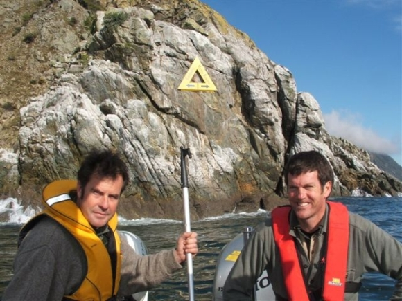 Rangers Ross Maley and Ivan Rogers in the Horoirangi Marine Reserve .