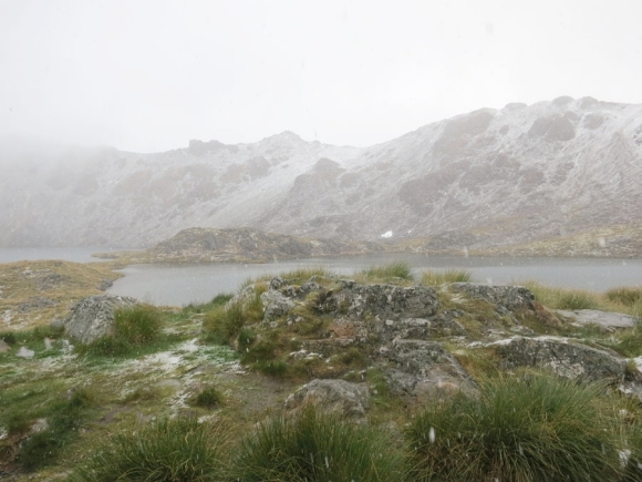 Snowing at Lake Angelus.