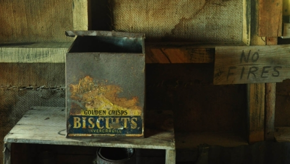 An old biscuit tin at Heather Jock Hut.