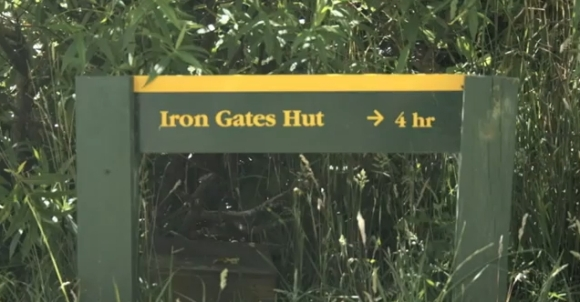 The Iron Gates Hut sign in the car park.
