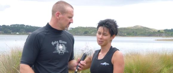 Experiencing Marine Reserves Coordinator, Camellia Nielsen being interviewed.
