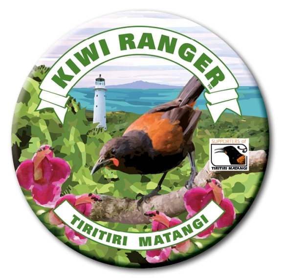 Kiwi Ranger text with image of Tiri showing saddleback and lighthouse.