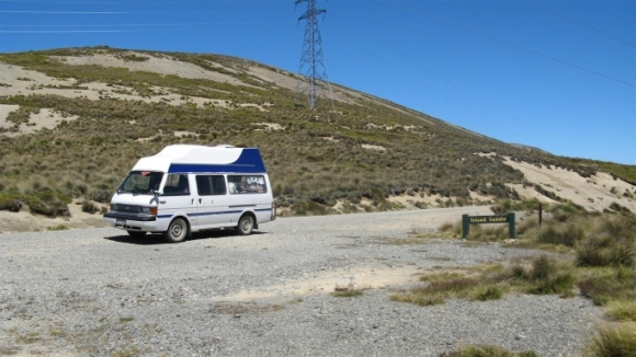 Campervan parked at Molesworth Station.
