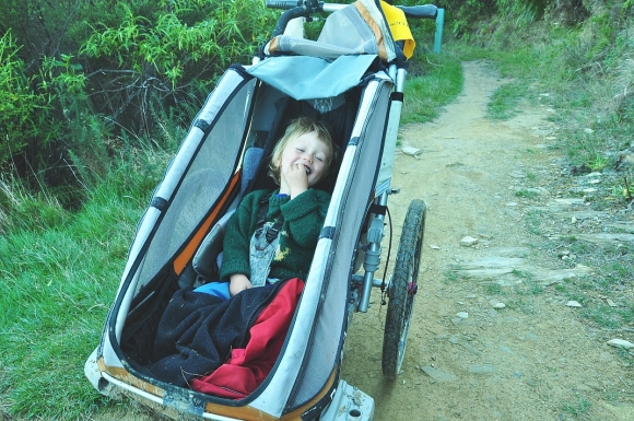 Chrissy's son Shannon in his chariot.