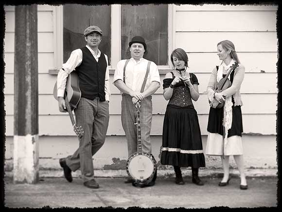 Sean Magee (second from left) with his bluegrass/folk band Tom's Field.