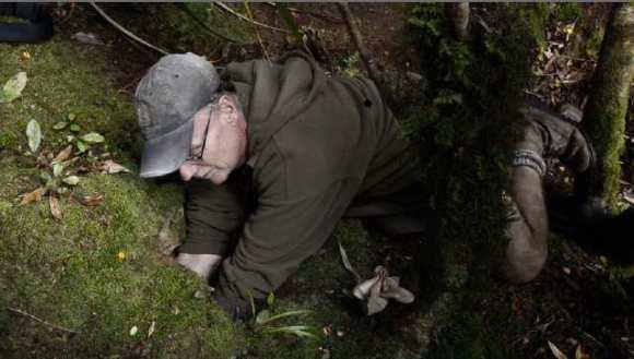 Fisherman Wayne Dreadon, burrowing for petrel.