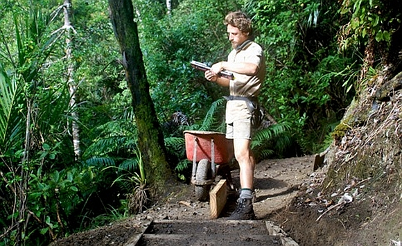 Oliver Knox building box steps on the Waiotemarama loop track.