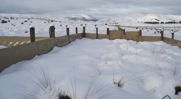 A snowy blanket over the takahe rearing unit.
