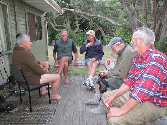 Swapping stories at the bunkhouse.