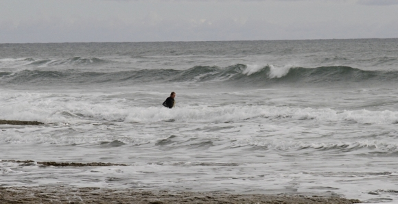 Mike in the surf retrieving the dolphin. Photo: Tim Mackrell/The University of Auckland.