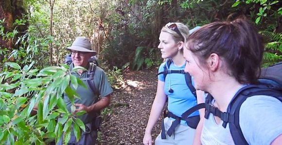 Angeline and Jane being told about the native plants along the track.