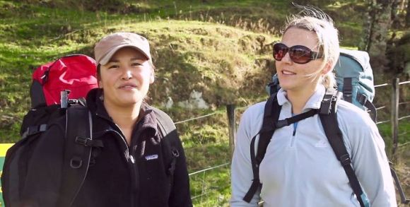 Angeline and Janna standing at the beginning of Sunrise Track.