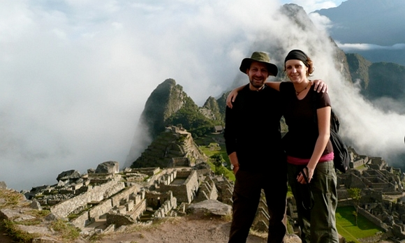 Laura on Macchu Picchu at sunrise.