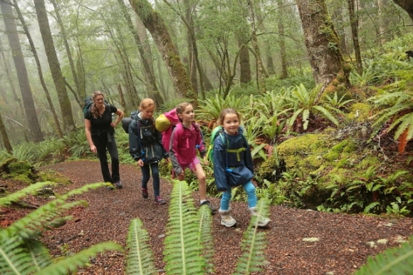 Summer Jubb and her family walking through bush on the Kepler Track.