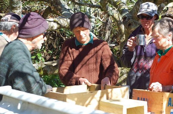 Volunteers making nesting boxes. Photo: Natasha Perry.