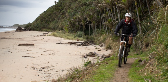 Biking on the Heaphy Track.