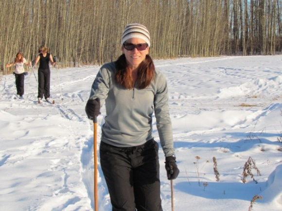 Michelle skiing in Canada.