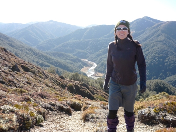 Michelle tramping in the Kaimanawa Ranges.