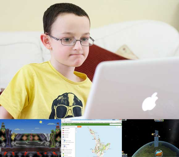 Main photo: Boy playing computer game. Photo: Rob Allen | flickr. Three smaller photos underneath:  Screen shots of Terraria, DOC Maps and Kerbal Space Program.