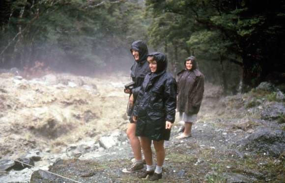 Track walkers in flood conditions during the 1970s.