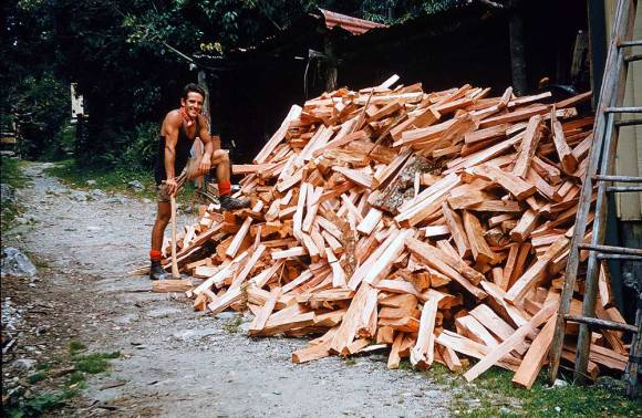 Ray with his pile of firewood.
