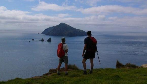 Shane and his mum looking across to Stephens Island in the Marlborough Sounds.