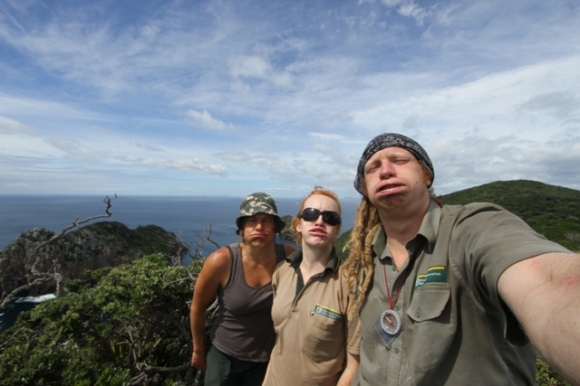Neil Forrester and his team on the Poor Knights Island pulling faces.