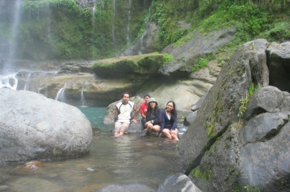 Ofelia with her family at the Big Falls in Sagada, Phillipines.
