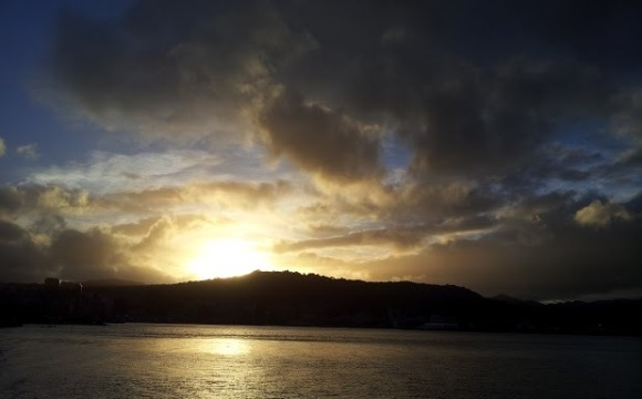 Sunset from the Wellington waterfront.
